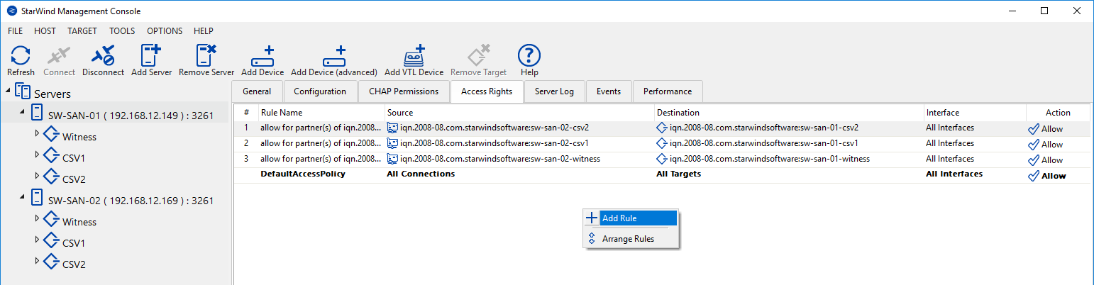 Access Rights tab